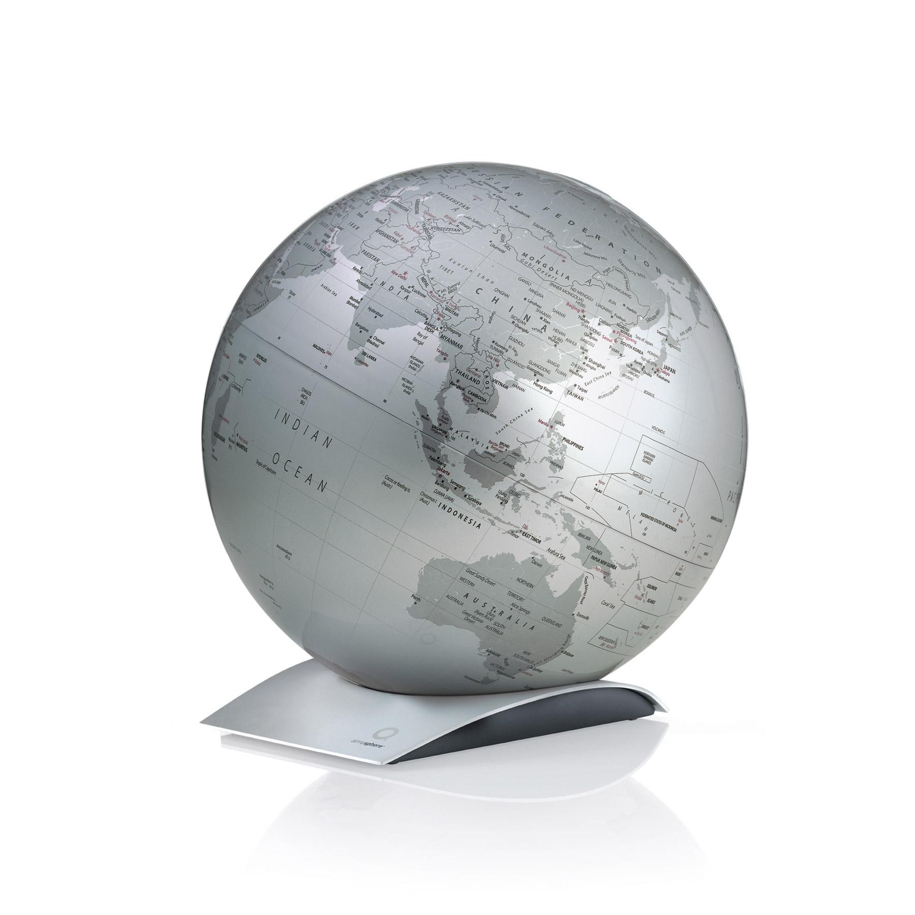 design globus silber metallic. Black Bedroom Furniture Sets. Home Design Ideas