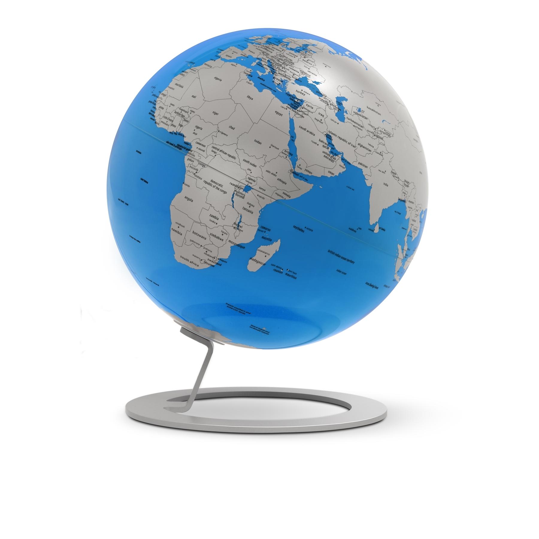 farbiger design globus mit gestell in aluminium. Black Bedroom Furniture Sets. Home Design Ideas